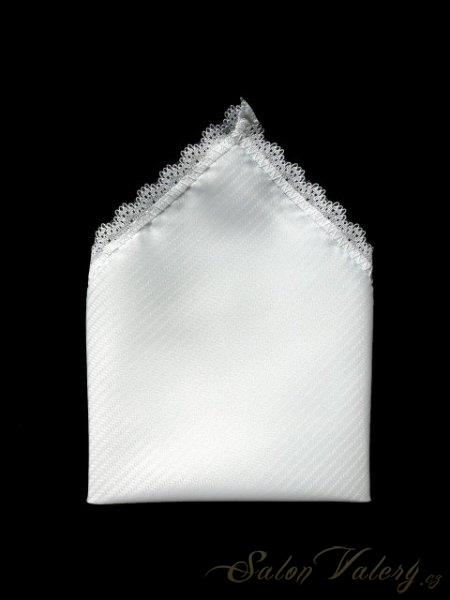 Ozdobný kapesník s krajkou - bílý