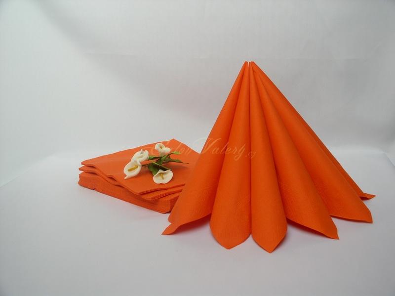 Ubrousek dvouvrstvý 33x33 cm - oranžová