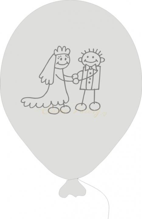 Svatební balónek PANÁČCI 5 ks - bílý