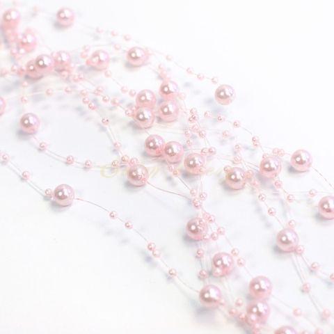 Perličky na vlasci - světle růžová