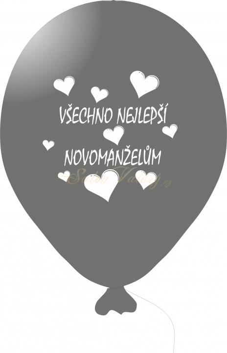 Svatební balónek s tiskem 5 ks - stříbrný