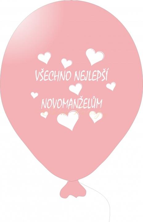 Svatební balónek s tiskem 5 ks - růžový