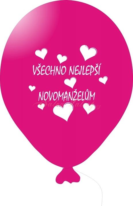 Svatební balónek s tiskem 5 ks - fuchsiový