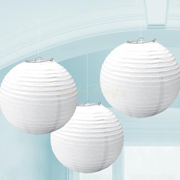 Lampion 24 cm 3 ks - bílý