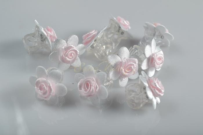 Skřipec s květinkou a růžičkou 10 ks - růžový