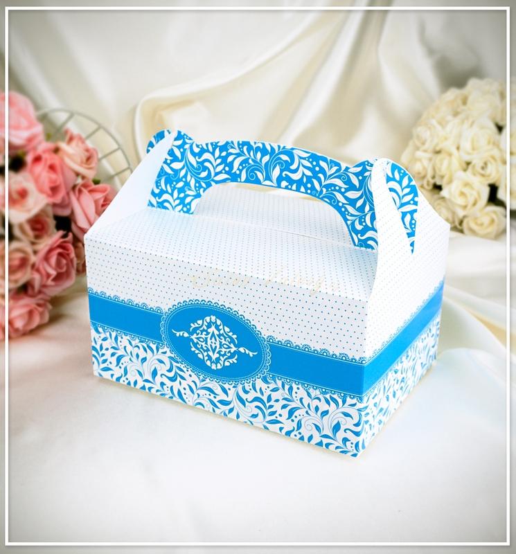 Svatební krabička na výslužku 1001 - světle modrá