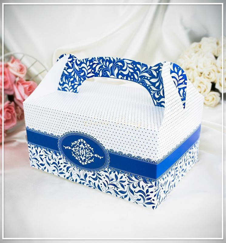 Svatební krabička na výslužku - tmavě modrá