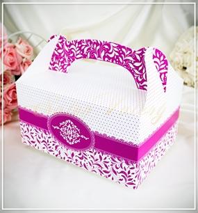 Svatební krabička na výslužku - fuchsiová