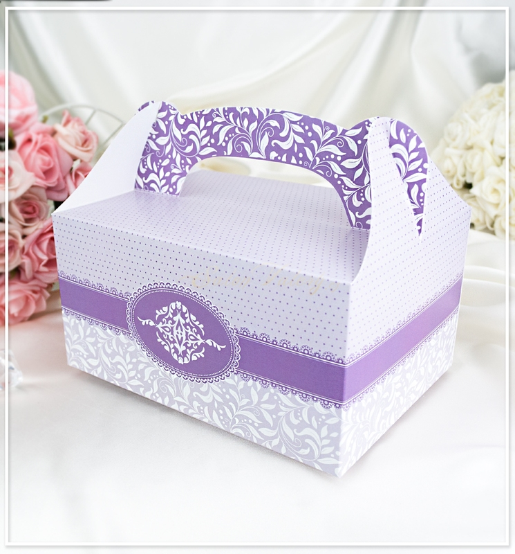 Svatební krabička na výslužku - světle fialová