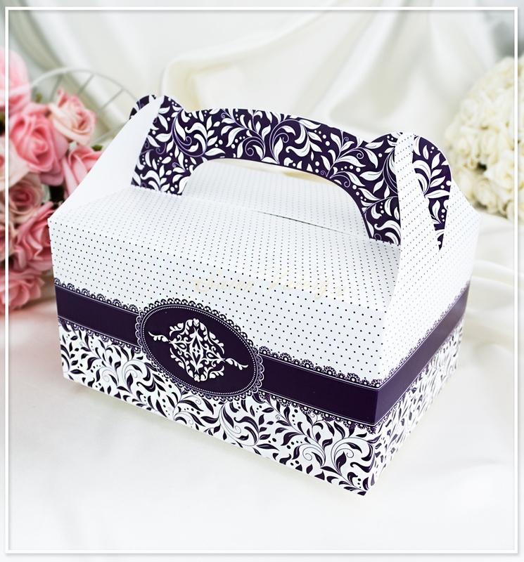 Svatební krabička na výslužku - tmavě fialová