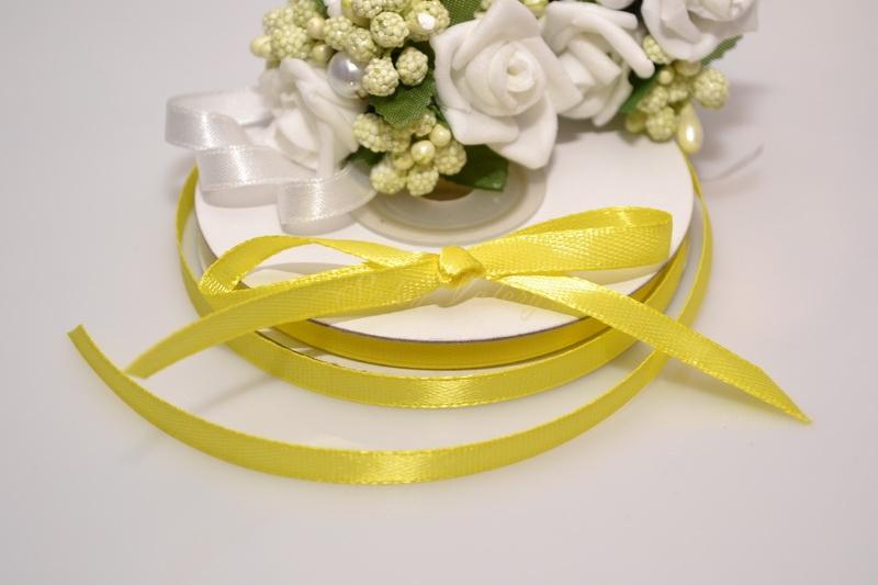 Saténová stuha 6 mm x 25 m - žlutá