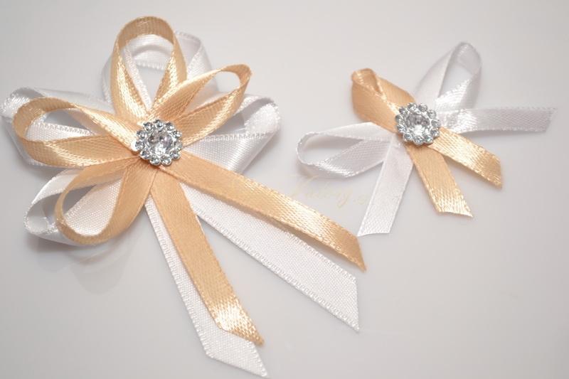 Svatební vývazek s broží - zlaté