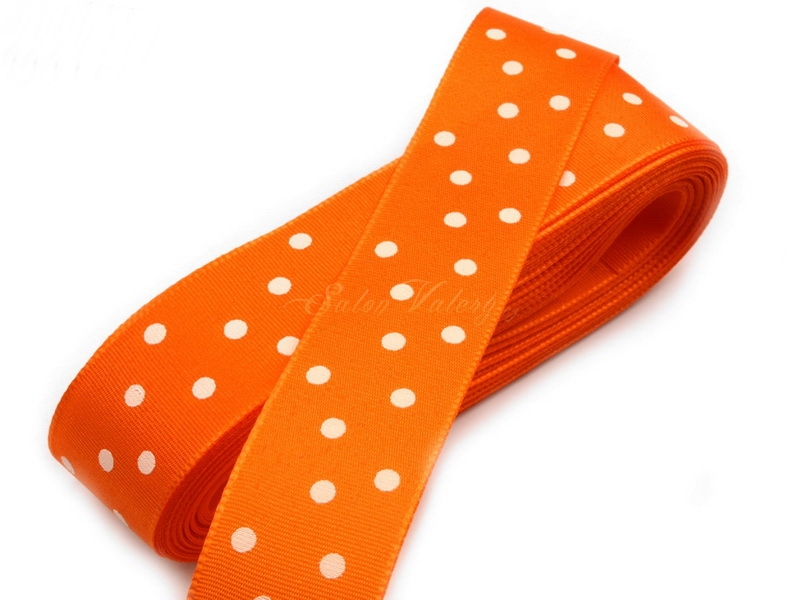Taftová stuha s puntíky - oranžová