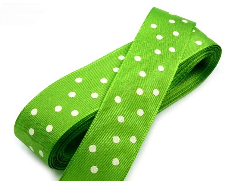Taftová stuha s puntíky - světle zelená