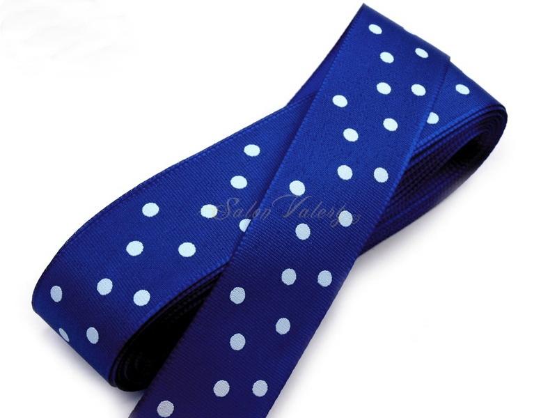 Taftová stuha s puntíky - modrá