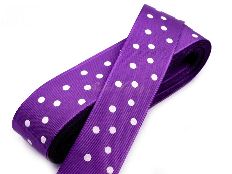 Taftová stuha s puntíky - fialová