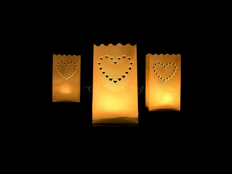 Lampion k postavení - motiv srdce