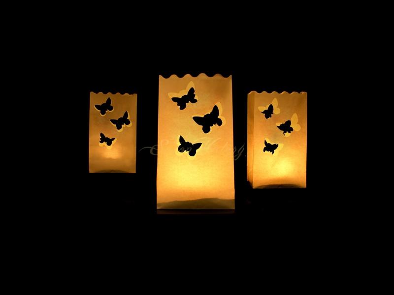 Lampion k postavení - motiv motýlci