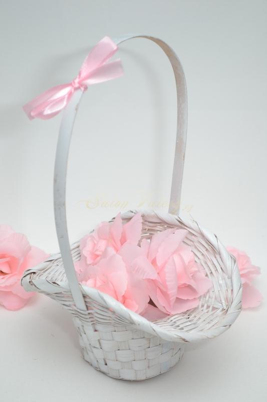 Košíček pro družičky s květy - růžový