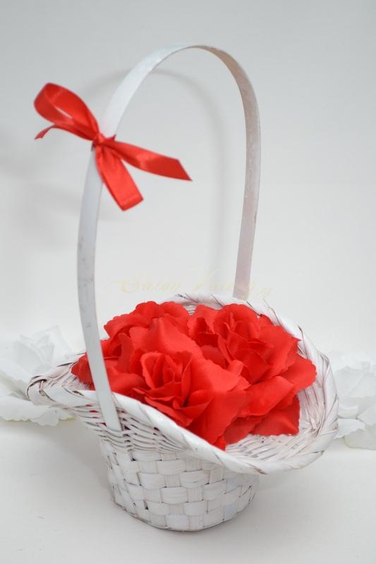 Košíček pro družičky s květy - červený