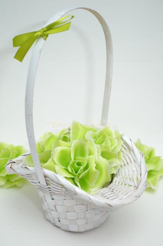 Košíček pro družičky s květy - zelený