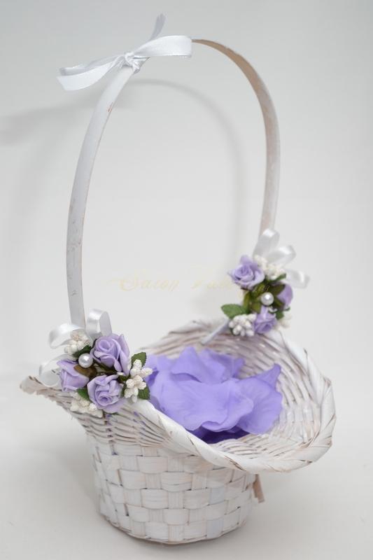 Košíček pro družičky s plátky - lila