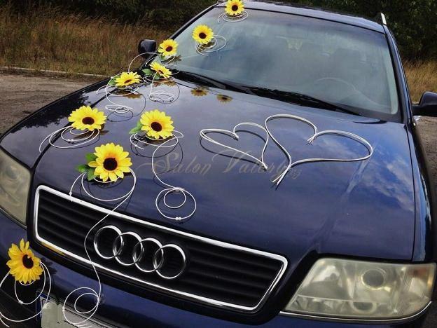Sada na svatební auto pedig-slunečnice