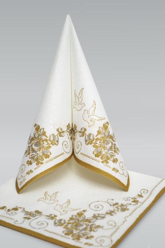 Svatební třívrstvé ubrousky MAKI  PSLSL000201