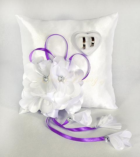 Polštářek s květy vz.1 - fialový