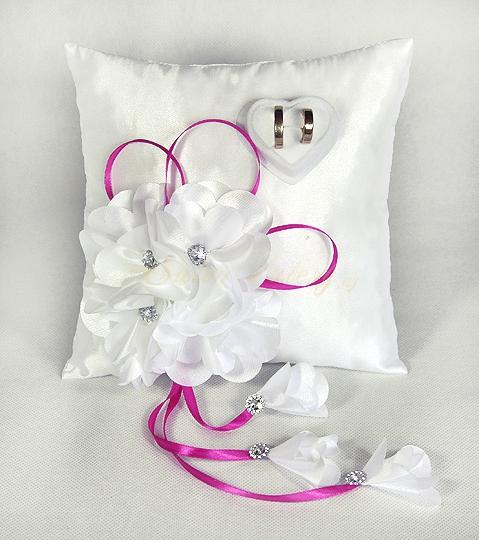Polštářek s květy vz.1 - fuchsiový