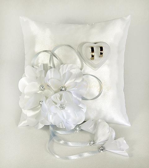 Polštářek s květy vz.1 - stříbrný