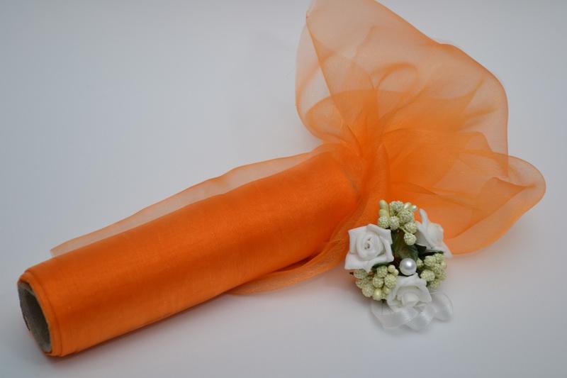 Dekorační organza 16 cm x 9 m - oranžová