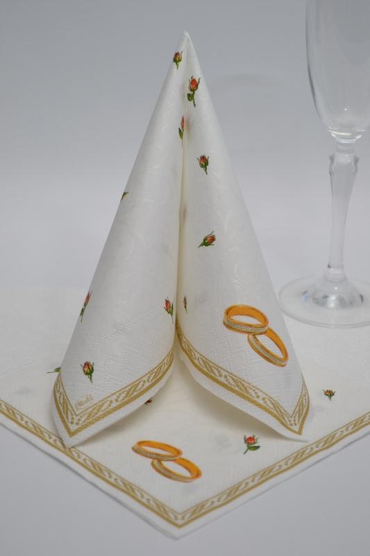 Svatební ubrousky třívrstvé PSLSL000102 - bílé