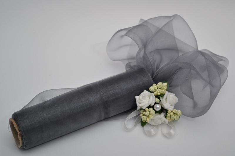 Dekorační organza 16 cm x 9 m - šedostříbrná
