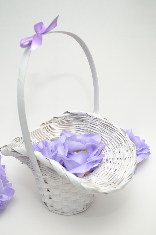 Košíček pro družičky s květy - fialový