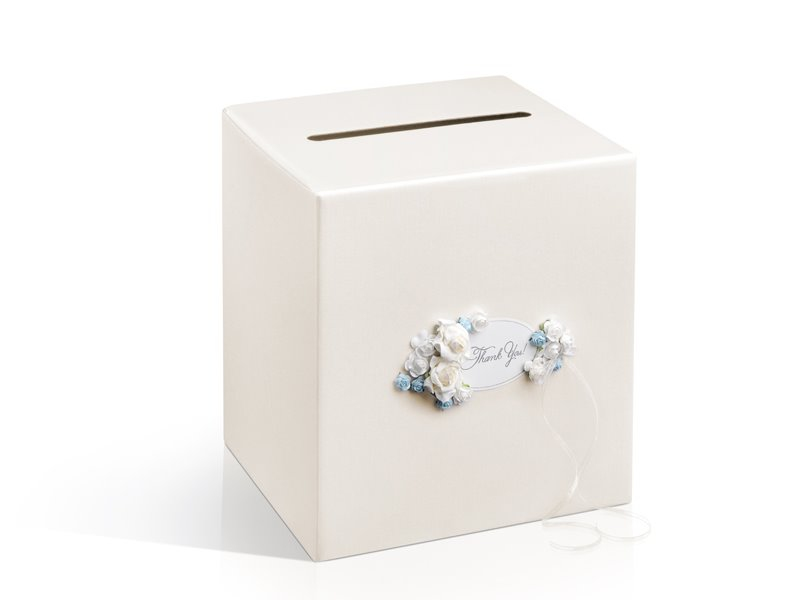 Truhla na svatební přání s květy krémová
