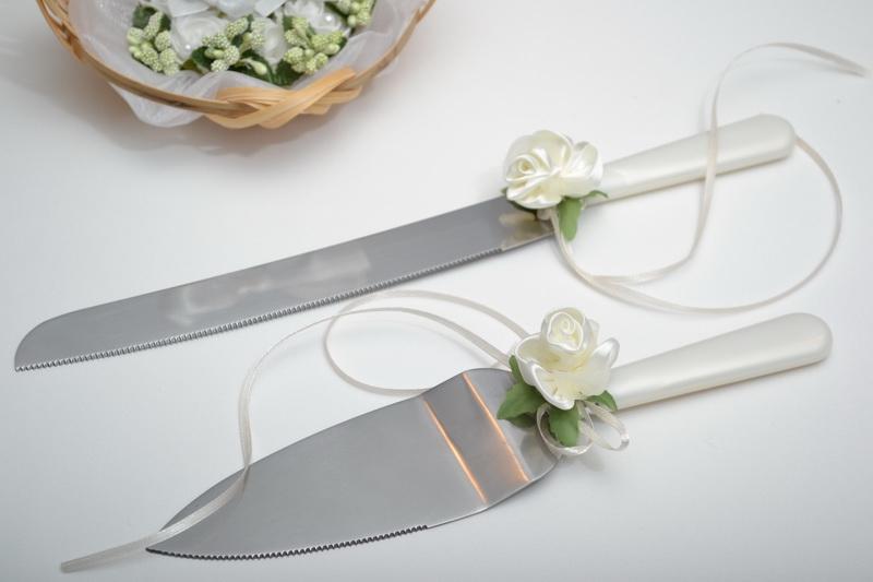 Lopatka s nožem- krémová květina