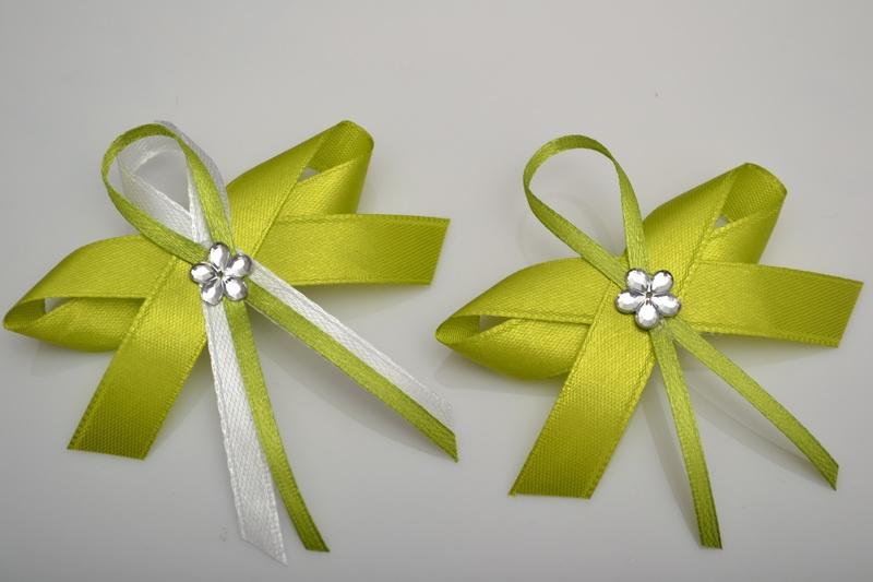 Širší vývazek s květinkou - světle zelená