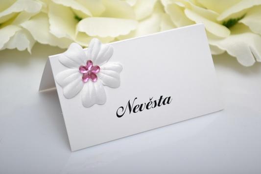 Svatební jmenovka květ - růžová