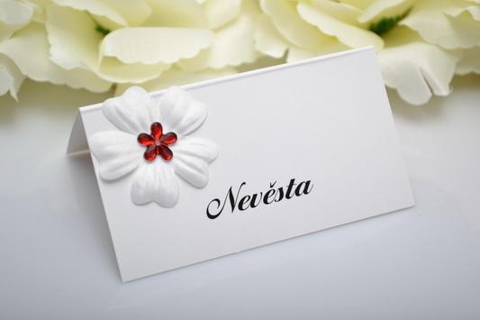 Svatební jmenovka květ - červená