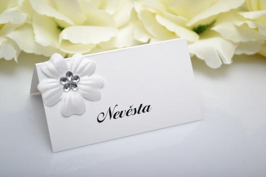 Svatební jmenovka květ - stříbrná