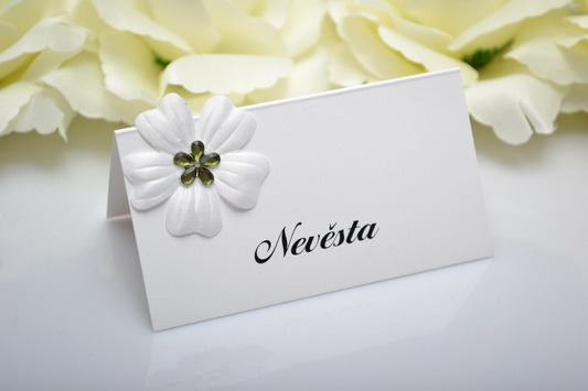 Svatební jmenovka květ - zelená