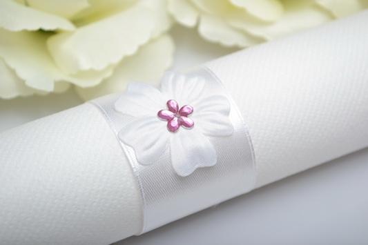 Kroužek na ubrousek květ - růžová
