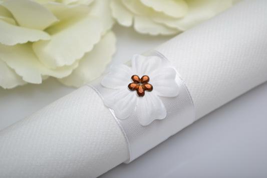 Kroužek na ubrousek květ - hnědá