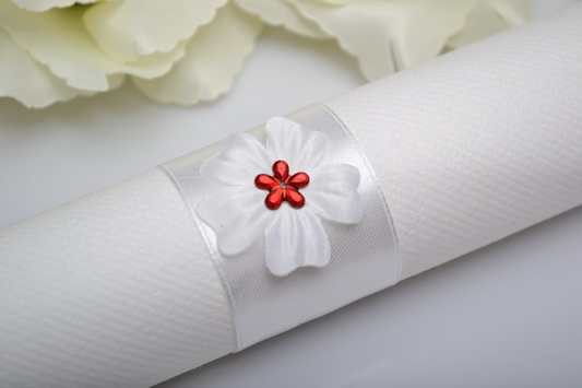 Kroužek na ubrousek květ - červená