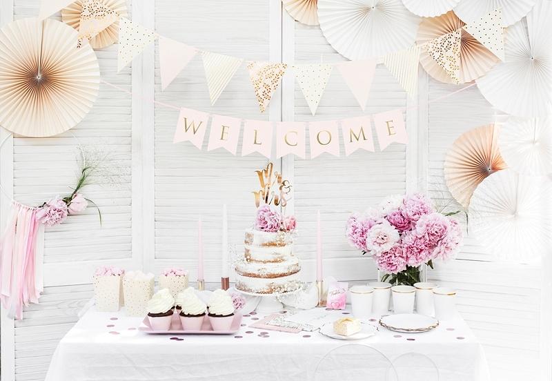 Banner Welcome - růžová/zlatá