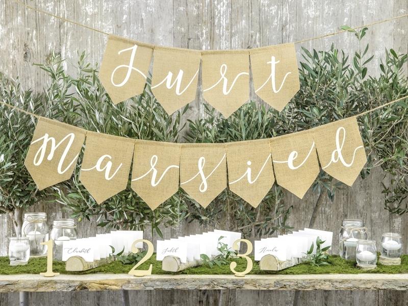 Velký banner Just married - juta