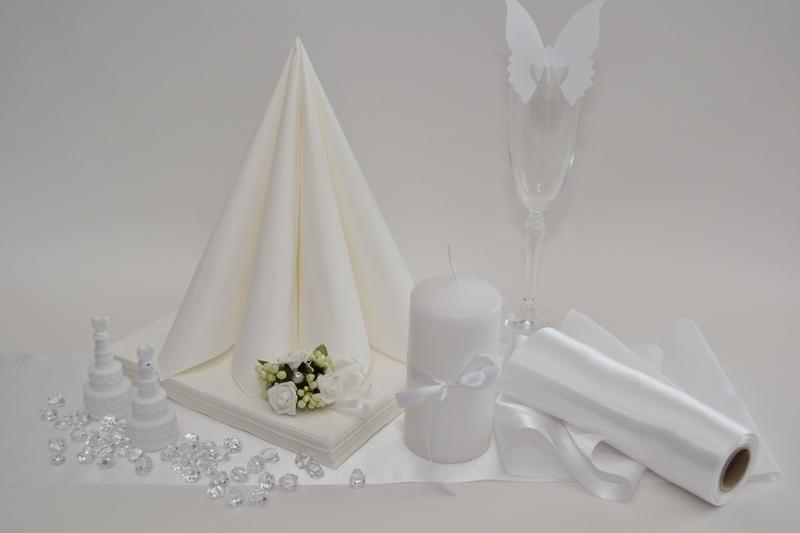 Saténová bílá dekorační sada + ZDARMA bublifuky
