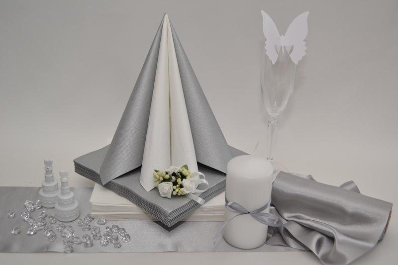 Saténová stříbrná dekorační sada + ZDARMA bublifuky