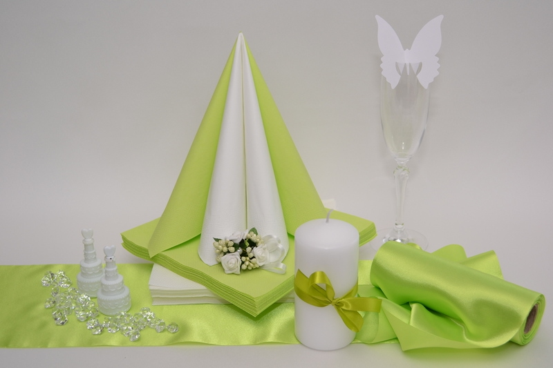 Saténová zelená dekorační sada + ZDARMA bublifuky